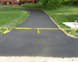 Asphalt Horseshoe Driveway paving at Clayton Drive Storm Drainage Improvement